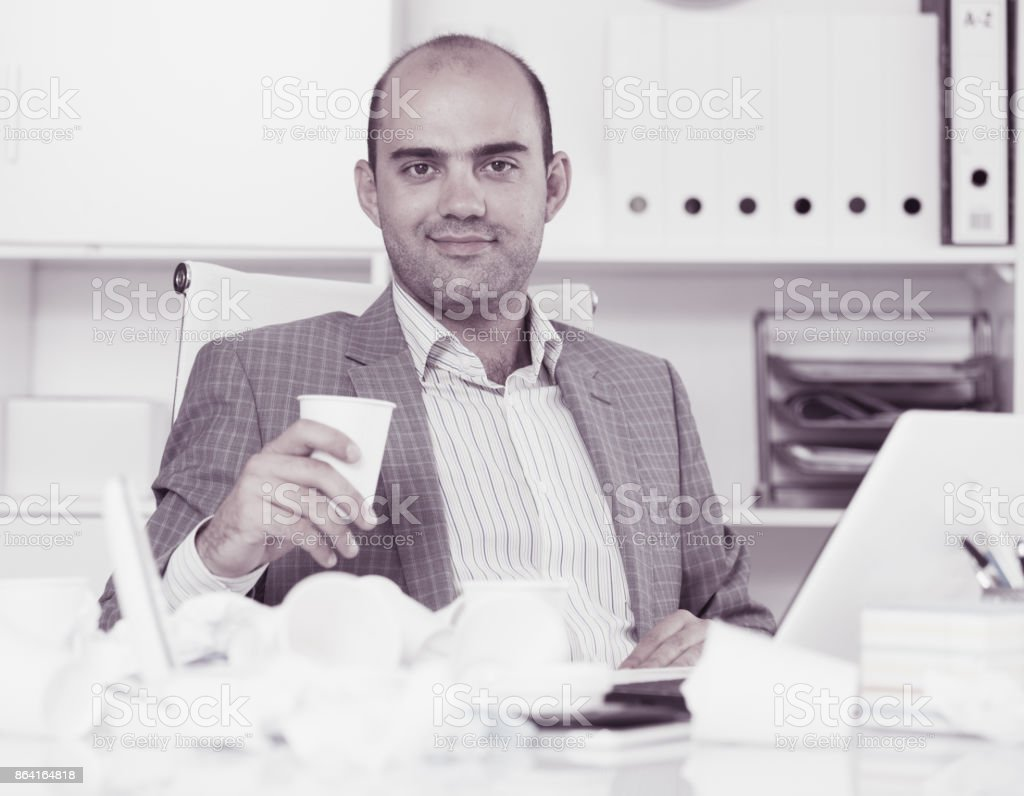 Portrait of cheerful man in the office royalty-free stock photo