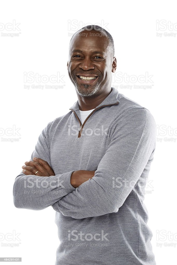 Portrait of cheerful mature african man stock photo