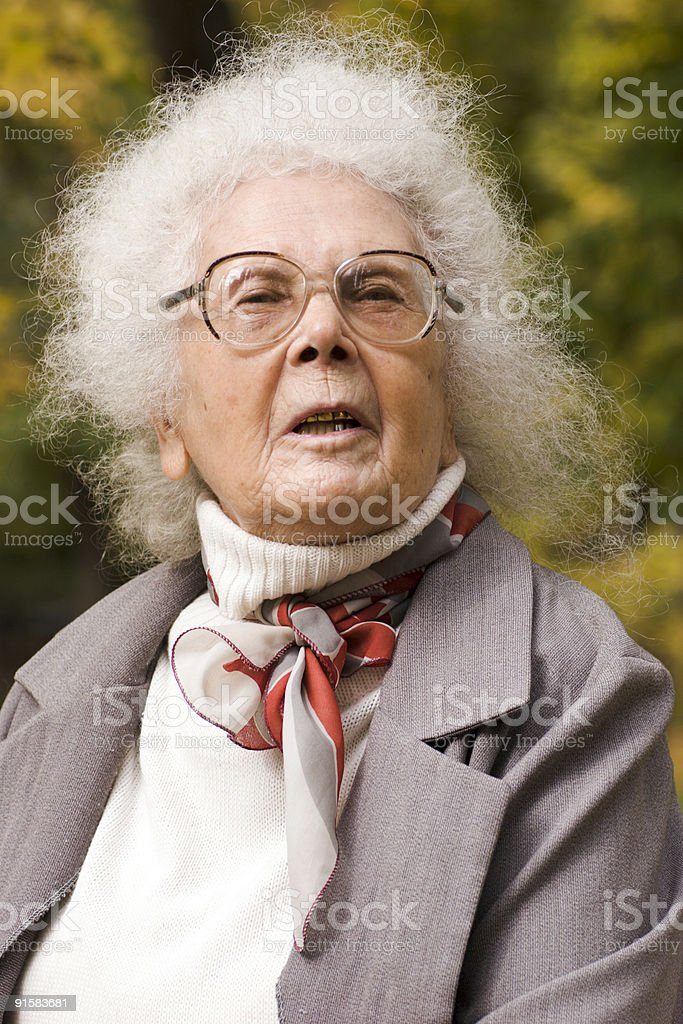 Portrait of cheerful old lady royalty-free stock photo