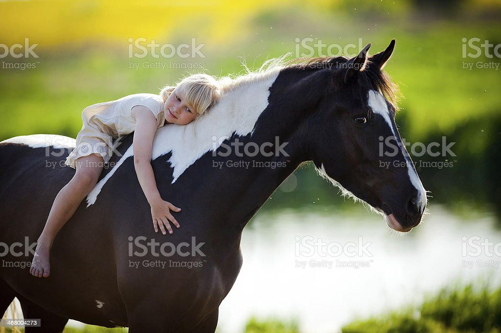 Portrait of child and a horse in filed stock photo