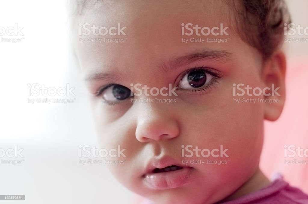 Portrait of Child (2-3) Looking very Serious royalty-free stock photo