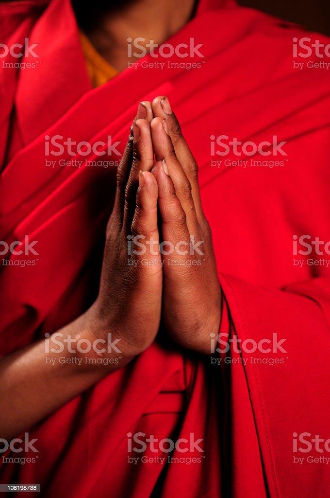 Portrait of Child Monk Praying stock photo