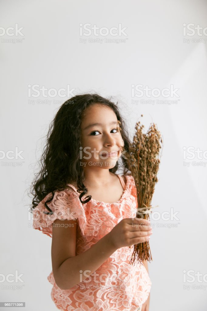 Portrait of children and dry herb - Royalty-free 4-5 Years Stock Photo
