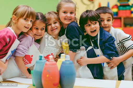 istock Portrait of Children Painting With Watercolors 508102432