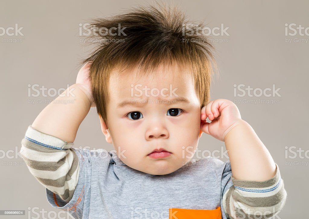 Portrait of Chinese boy stock photo