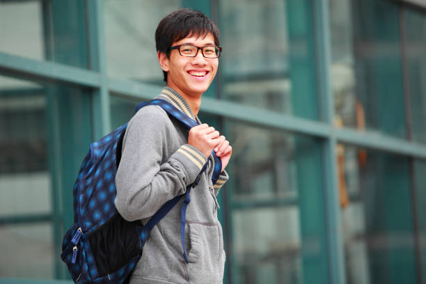 portrait of chinese college student stock photo