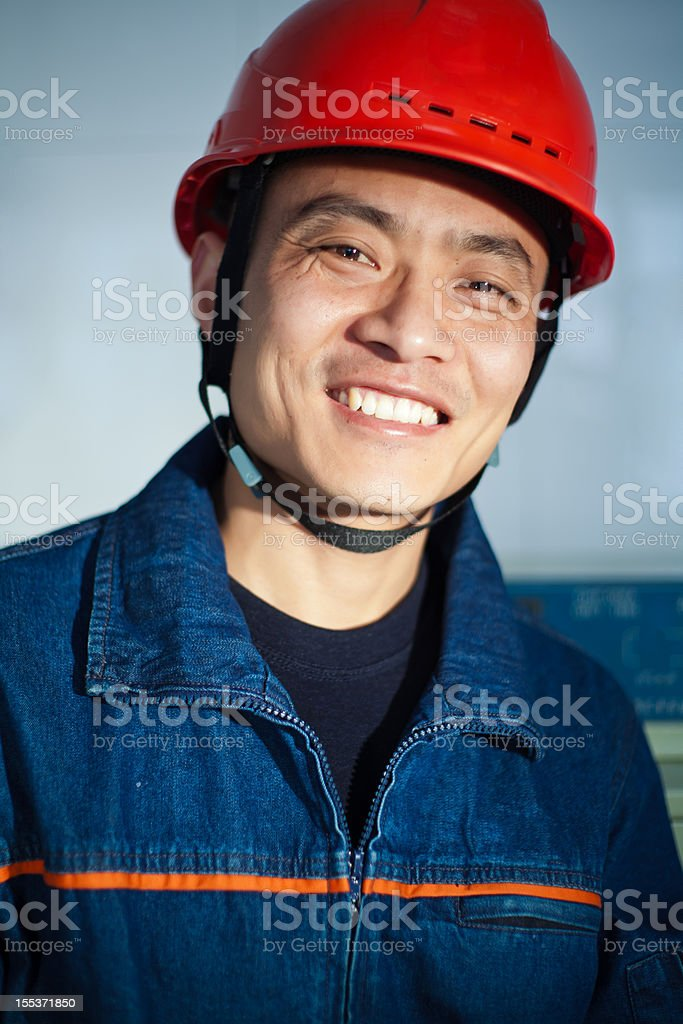 Portrait of  Chinese oil worker royalty-free stock photo