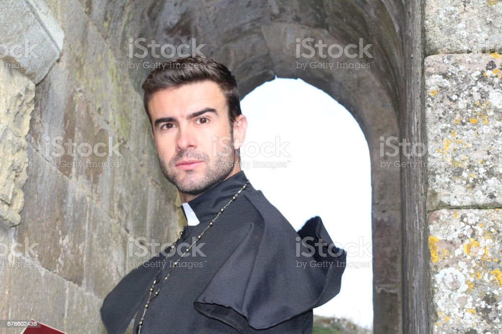 Portrait of Christian priest with Copy Space stock photo