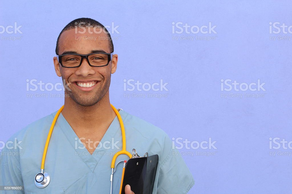 Portrait of confident African American male doctor stock photo