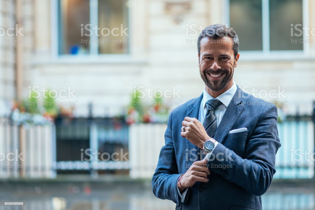 Portrait of confident and successful business person in London stock photo