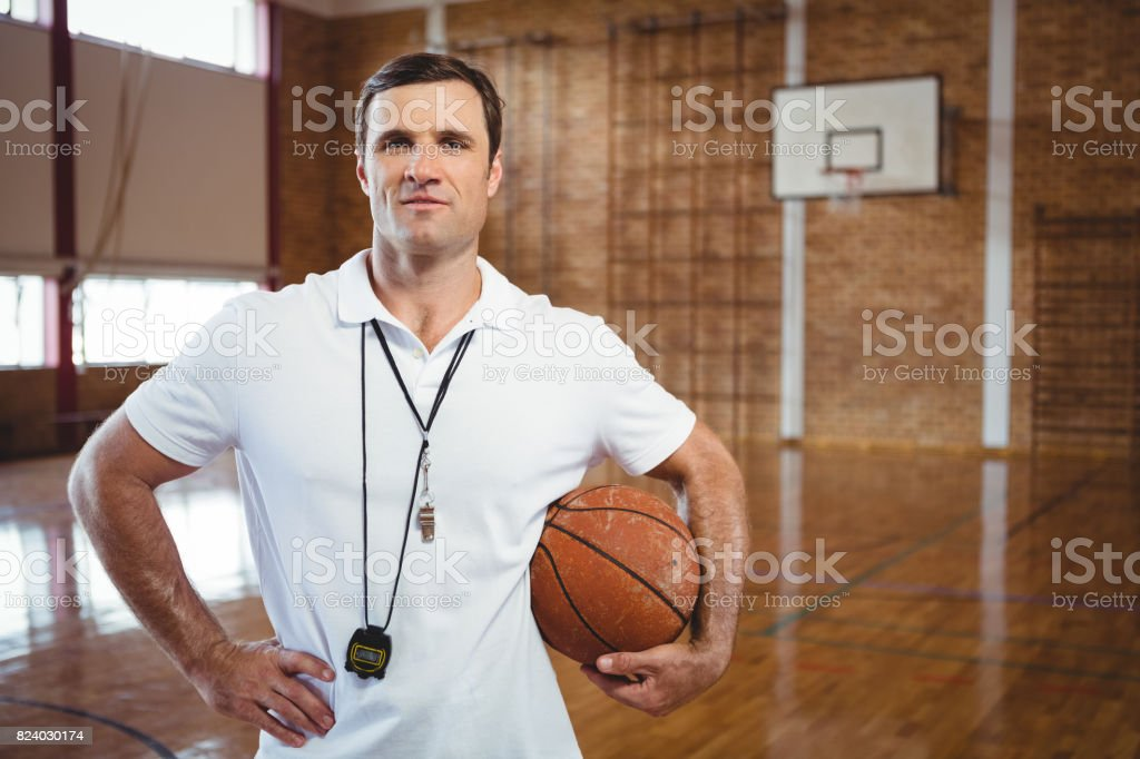 Portrait of confident basketball coach - foto stock