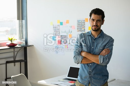 istock Portrait of confident businessman at office 848694066