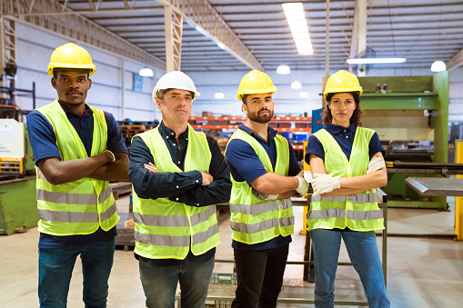 Portrait Of Confident Engineers In Industry Stock Photo - Download Image Now