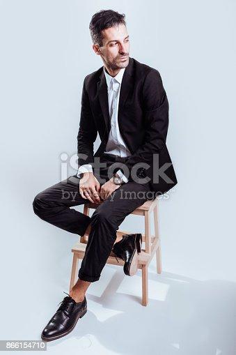 620404536istockphoto Portrait of confident handsome man in black suit 866154710