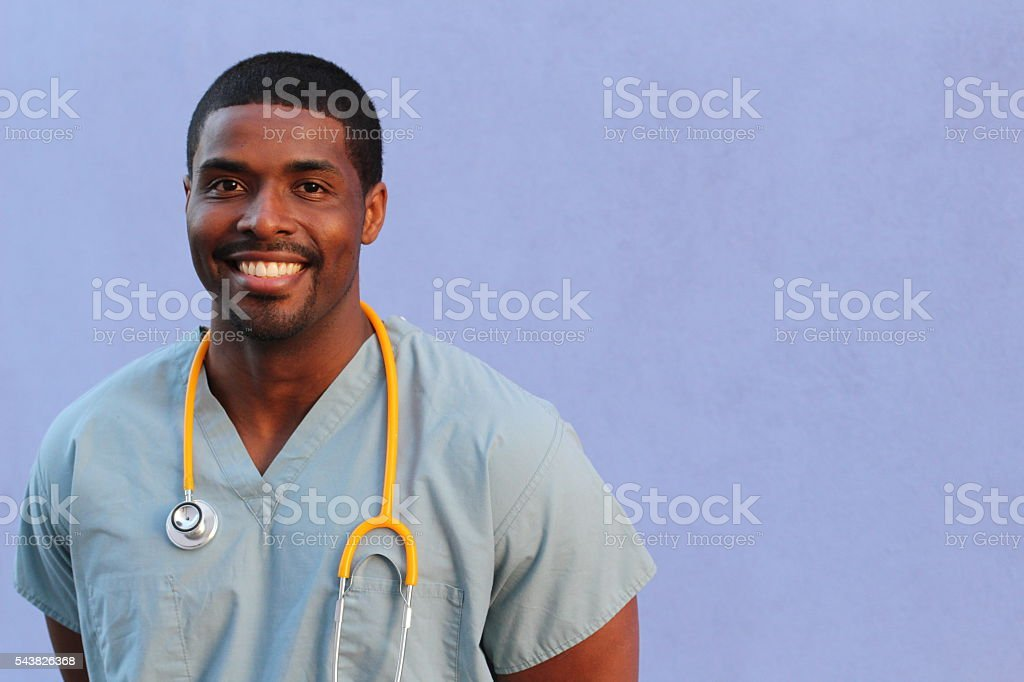 Portrait of confident healthcare professional with copy space stock photo