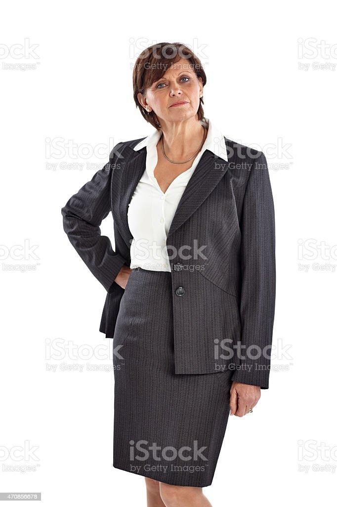 Portrait of confident mature businesswoman stock photo