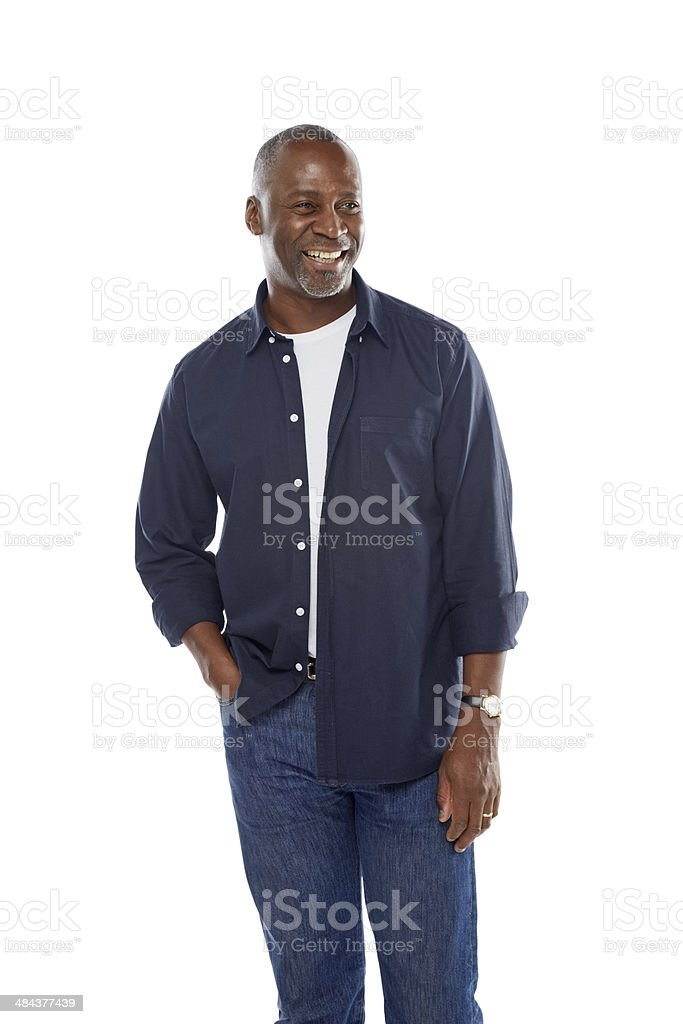 Portrait of confident mature man looking away stock photo
