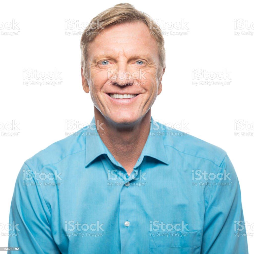 Portrait of confident mature man smiling stock photo