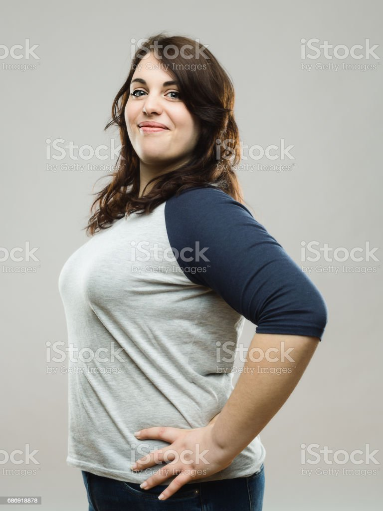 Portrait of confident real woman stock photo