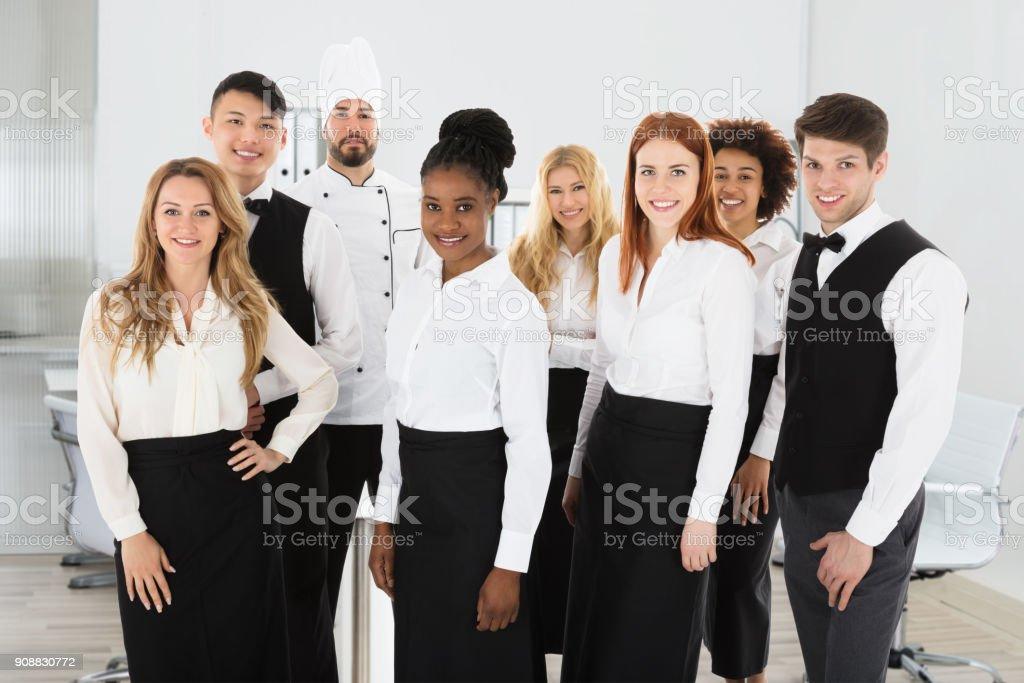 Portrait Of Confident Restaurant Staff stock photo