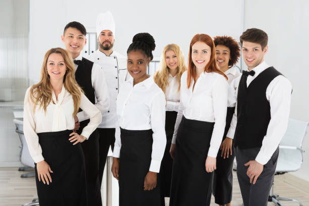 Portrait Of Confident Restaurant Staff stock photo