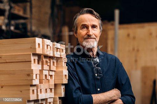 Portrait of confident senior male carpenter standing in his workshop