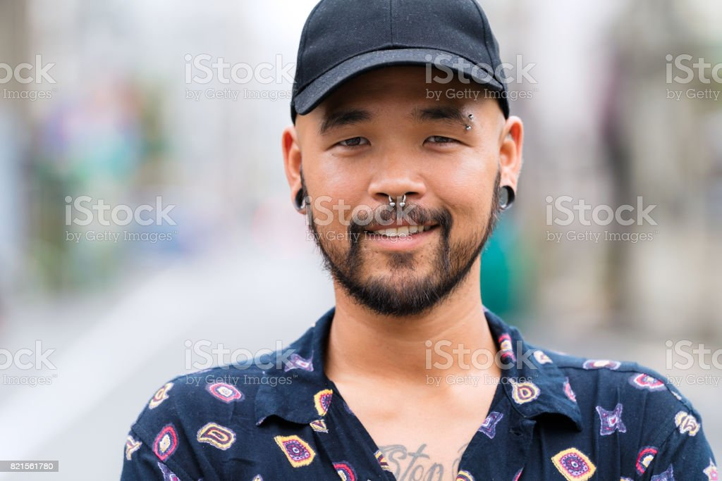 Portrait of confident young asian man stock photo