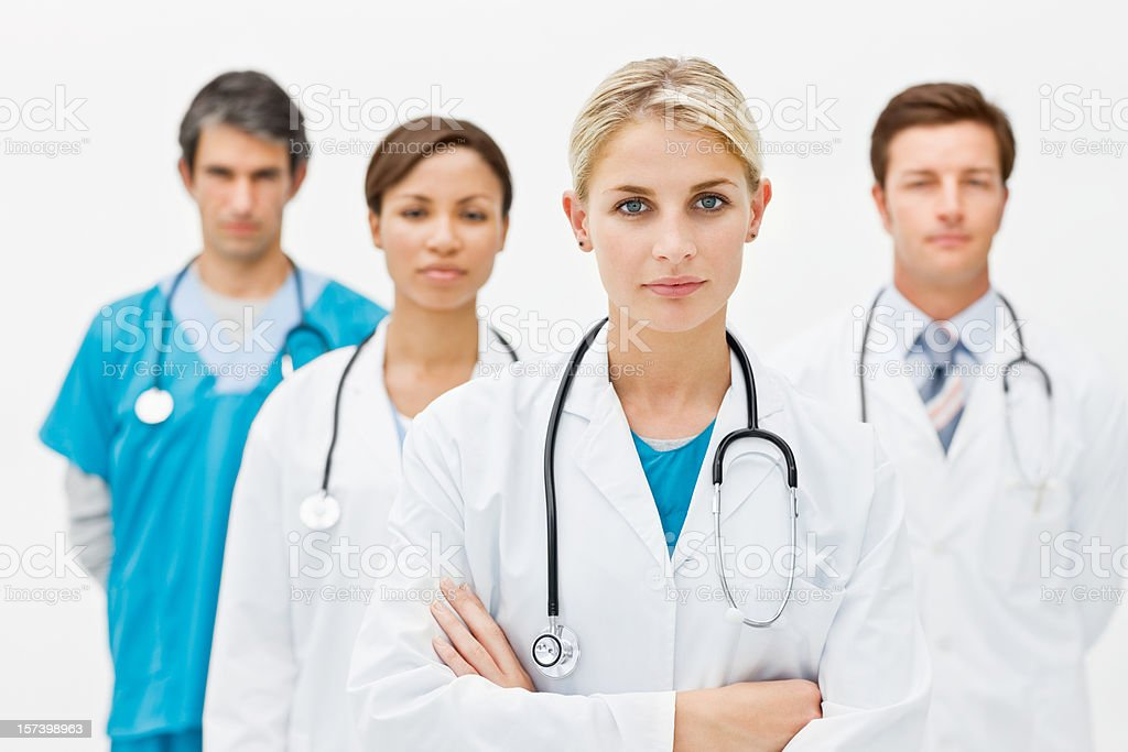 Portrait of confident young doctors royalty-free stock photo