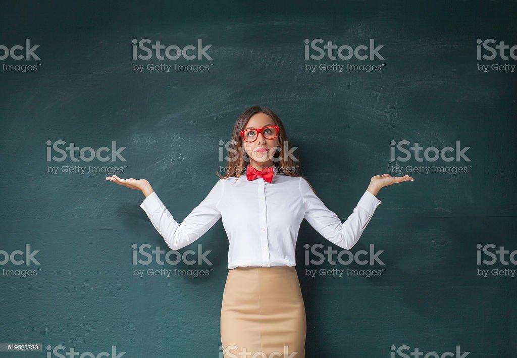 Porträt von verwirrt Geschäftsfrau  – Foto