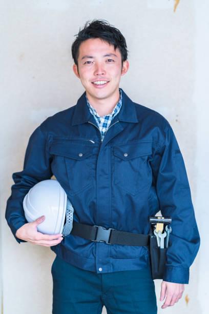建設労働者の肖像 - 男性 笑顔 ストックフォトと画像