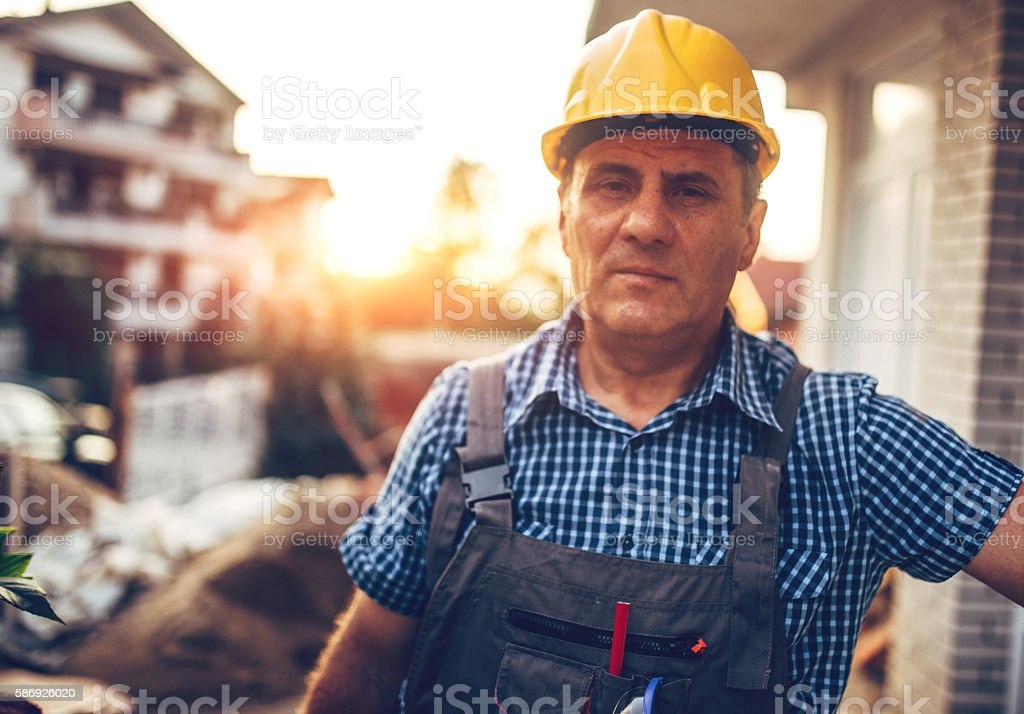 Portrait Of Construction Worker stock photo