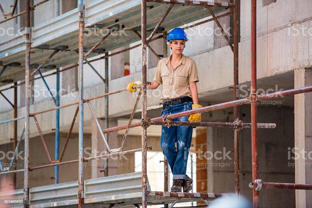 Portrait of construction worker stock photo