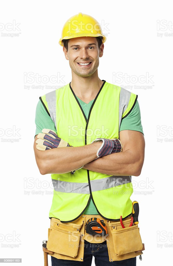 Portrait Of Construction Worker Standing Arms Crossed stock photo