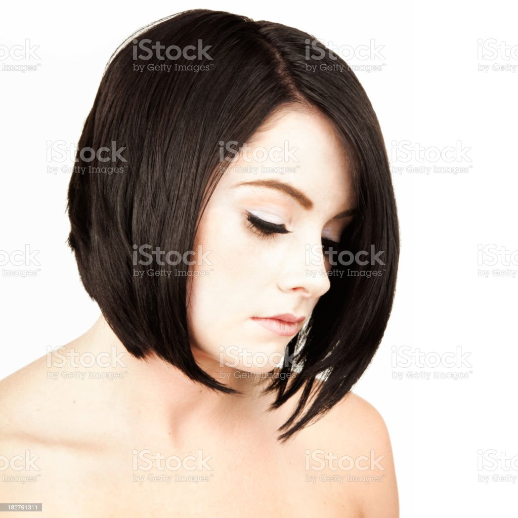 Portrait of Contemplative Young Woman with Short Dark Hair. Isolated. royalty-free stock photo