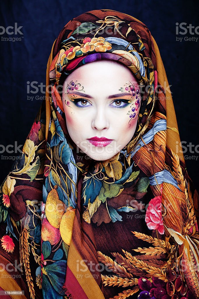 portrait of contemporary noblewoman with face art stock photo