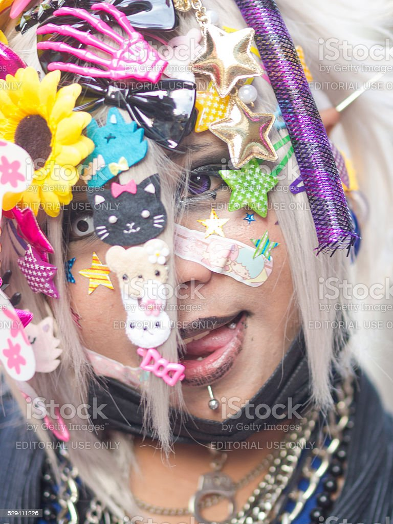 Portrait of Cosplay girl at Harajuku'sTakeshite Street in Tokyo stock photo