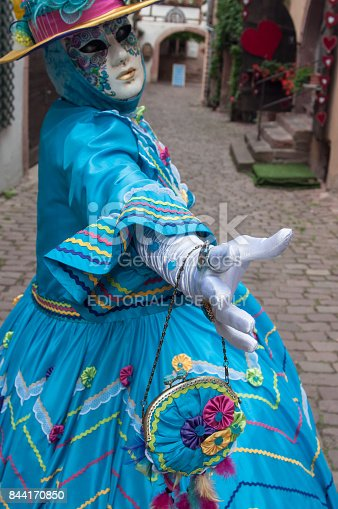 474303291 istock photo portrait of Costumed woman at the Venetian Parade in Riquewihr in Alsace 844170850