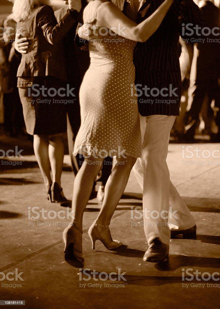 Porträt von paar Tanzen Tango im Freien, Sepia – Foto