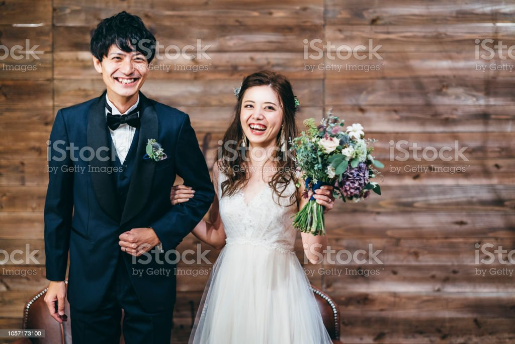 Portrait of couple during their wedding stock photo