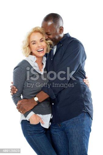 istock Portrait of cozy mature couple on white 489125523