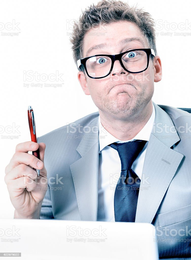 portrait of crazy and funny manager stressed at work stock photo