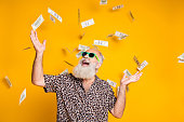 istock Portrait of crazy funky funny old bearded man hipster in green eyeglasses, eyewear look up at money falling scream great win lottery wear leopard stylish shirt isolated over yellow background 1174134141
