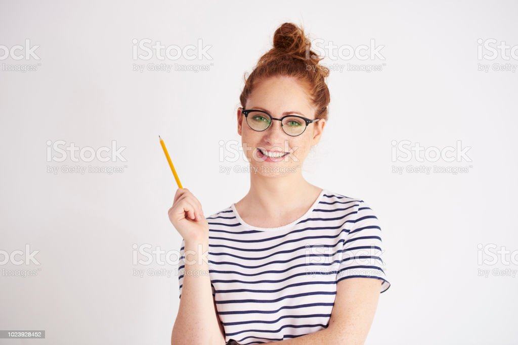 Portrait of creative woman at studio shot stock photo