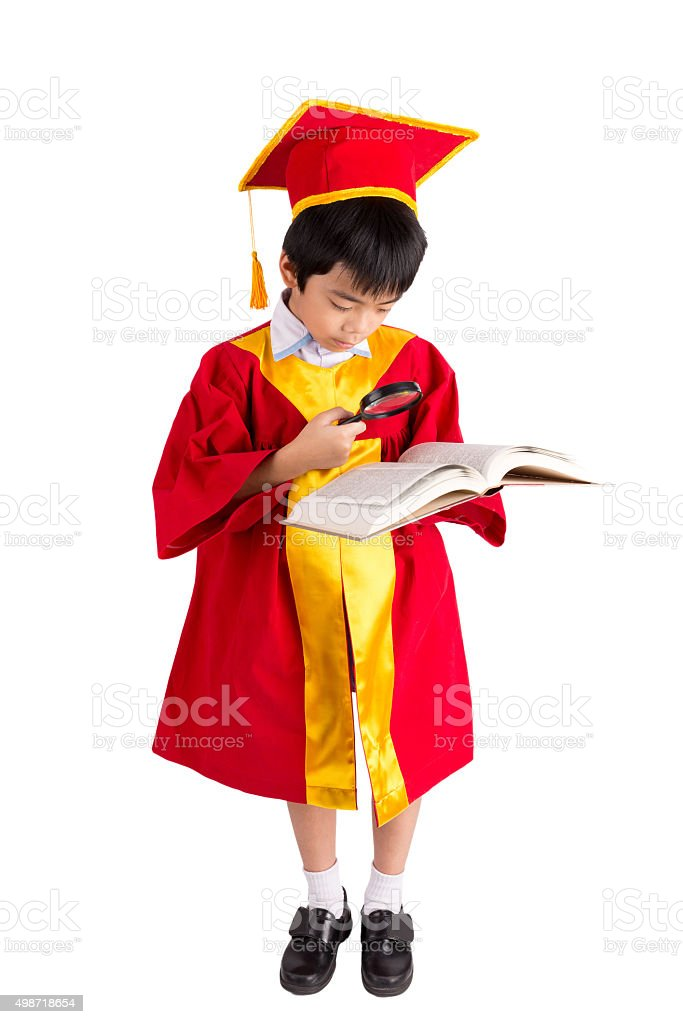 Portrait Of Curious Boy In Red Gown Kid Graduation Stock Photo ...