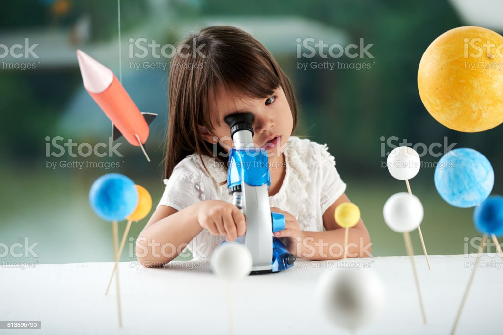 Portrait of Curious Little Scientist stock photo