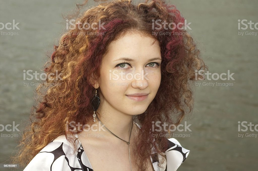 portrait of curly girl royalty-free stock photo