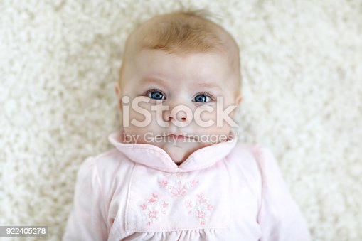 istock Portrait of cute adorable newborn baby child 922405278