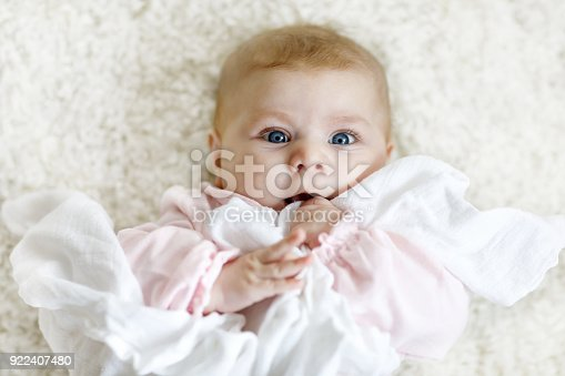istock Portrait of cute adorable newborn baby child 922407480