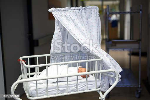istock Portrait of cute adorable newborn baby girl in birth hospital. 692785608