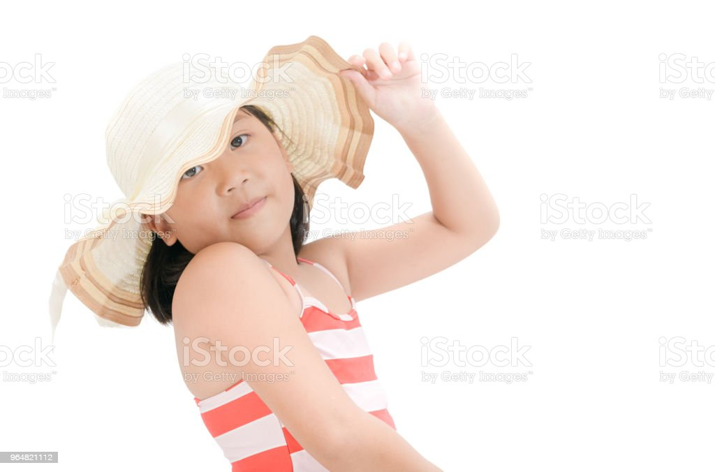 portrait of cute asian girl wearing swimsuit royalty-free stock photo